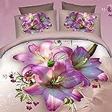 Alicemall Algodón 100% Colchas de 4 Piezas Estampado Digital de Flores Abiertas Púrpura con Fundas Nórdico,Sábana Encimera y Fundas de Almohada colcha para Cama