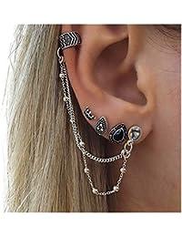 1700d6a8d875 saisiyiky Pendientes Mujer Aros de Plata Flecos Conjunto de Joyas Ganchos  Pendientes Brillantes de joyería Pendientes