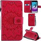Ooboom Samsung Galaxy J3 2016 Coque Motif Tournesol PU Cuir Flip Housse Étui Cover Case Wallet Pochette Support avec Porte-cartes pour Samsung Galaxy J3 2016 - Rouge