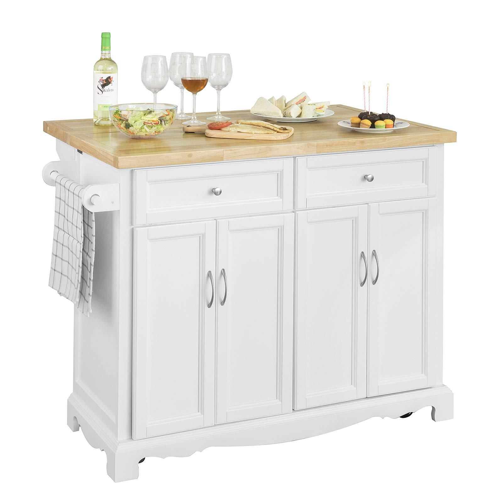 SoBuy Credenza Legno Carrello Cucina Piano Lavoro Cucina Piano in Legno di  Hevea è allungabile FKW71-WN | CasaMe