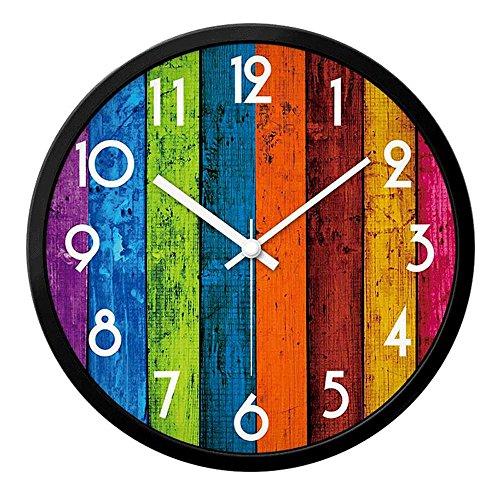 Preisvergleich Produktbild OOFYHOME Wanduhr Kreative Landschaft Stille Nicht tickende Runde Uhr Wand dekoration Für Wohnzimmer Schlafzimmer Büro Küche-Metallrahmen