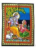 Rastogi bricolage Radha Krishna Dieu 101,6x 76,2cm Affiche de taille Tapisserie décoratif indien Décoration de Dortoir Tapisserie Coton indien Multicolore RK Poster mural indien divinité RH-105 Multicoloured