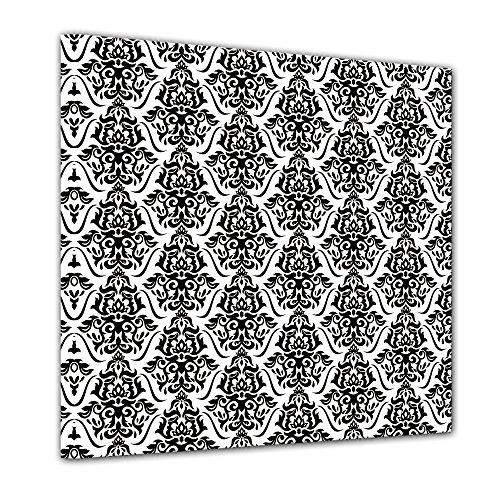Kunstdruck - Florales Muster Tapete - Bild auf Leinwand - 40x40 cm einteilig - Leinwandbilder -...