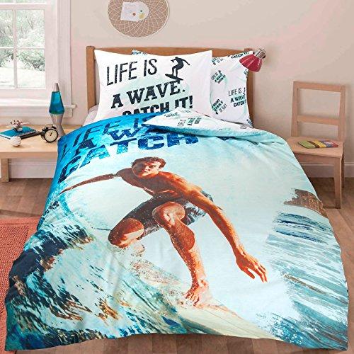 Kinder Kinder Teenager Mädchen Single Quilt Bettbezug und Kissenbezug Bettwäsche-Set (Surfen / Surfen) -