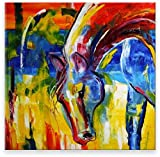 Oil Painting Abstract Modern Contemporary Wall Decor Handmade Art on Canvas Color Horse