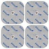 4 electrodos para electroestimuladores COMPEX- Set parches para TENS EMS conexión de botón (100x50mm )- Almohadillas calidad axion