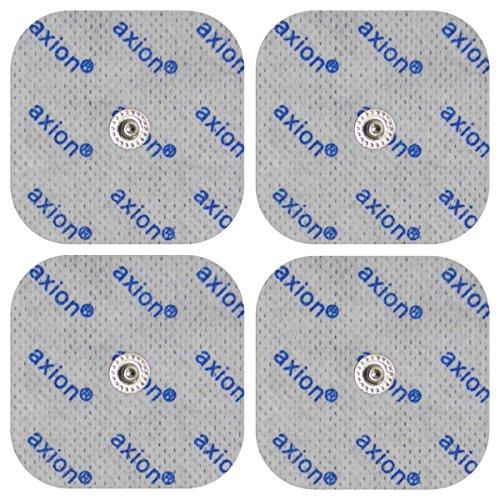 4 electrodos para electroestimuladores COMPEX - Set parches para TENS EMS conexión de botón (50x50mm ) - Almohadillas calidad axion