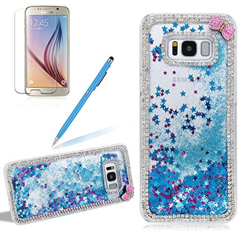 Preisvergleich Produktbild Girlyard Glitzer Flüssig Hülle für Galaxy S8,  Bling Strass Niedlich Bow-Knot Diamant DIY Transparent Hardcase 3D Kreative Dynamisch Treibsand Schutzhülle Sparkle Klar Hart Plastik Handytasche für Samsung Galaxy S8 Blau