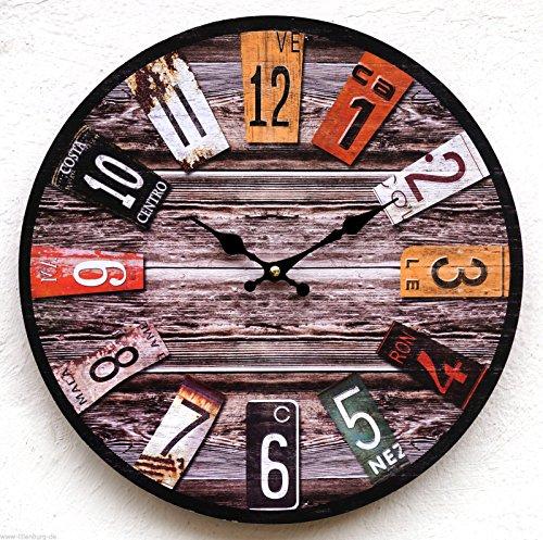 SSITG Uhr Wanduhr braun US Kennzeichen Nummernschild USA Amerika Nostalgie antik