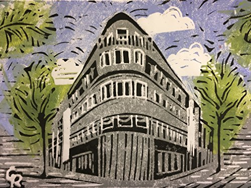 Bremen, Ecke Vegesacker- Bremerhavener Strasse - Linolschnitt, von Hand einzeln gedruckt, etwa...