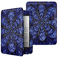 MoKo Case Fits All-New Kindle (10th Generation, 2019) / Kindle (8th Generation, 2016), Premium Protective Cover Shell with Auto Wake/Sleep Function - Rattan Flower Blossom