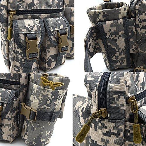 SUNVP Tactical Wasserflasche Beutel Molle Military Fanny Pack Tasche Wasserdichte Taille Wasser Halter Rucksack Bum Bag ACU Camouflage