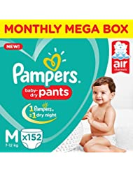 Pampers New Medium Size Diapers Pants Monthly Box Pack (152 Count)