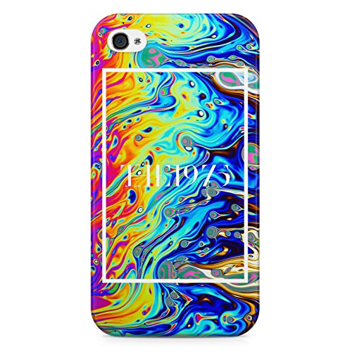 The 1975 Colorful Paint Rad Tye Dye Soap Film Trippy Holographic Hard Plastic Snap Case Cover For iPhone 4 Custodia