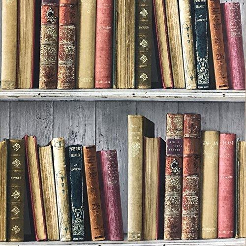 Mehrfarbig Wand einkleistern Bücherregal Tapete