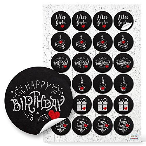 48 runde schwarz weiße Kreidetafel Aufkleber zum Geburtstag mit Herz rot Geschenk ALLES GUTE HAPPY BIRTHDAY Geschenkaufkleber Verpackung Verzierung Sticker Kinder Deko -
