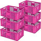 6x Eurobehälter durchbrochen/Stapelkorb, lebensmittelecht, LxBxH 600 x 400 x 240 mm, pink