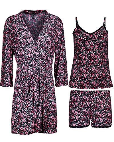Cami Short Set (Rene Rofe Damen Pyjama-Set 3-teilig, Shorts, Cami und Bademantel - Pink - Small)