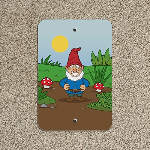 Garden-Gnome-with-Toadstools-Home-Business-Office-Sign-Plastic-18-x-12-457cm-x-305cm