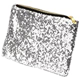 TRIXES Ladies Clutch Bag with Sparkling Silver Sequin Detail 26 cm x 15.5cm Evening Bag