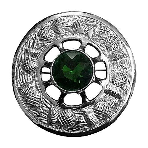Brosche Schottische Kilt Fly Plaid grün Stein Silber Finish/Damen Band Brosche/Distel Emblem Broschen