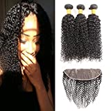 Huarisi Brazilian Curly Hair 3 Bundles and Frontal Closure 13x4 Free Part Soft n...