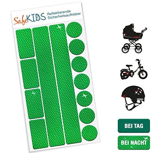 Motoking SafeKIDS Leuchtaufkleber, GRÜN, 13 Stück für Kinderwagen Fahrrad Helm und mehr