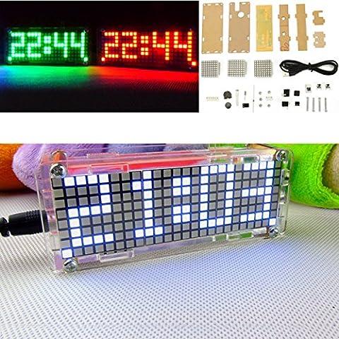 Bluelover 5V Diy Punktmatrix-Ziffern-Led-Elektronischer Uhr-Installationssatz-Temperatur 24 Stunden Anzeige -Weiß