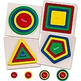 Jouets en Bois pour Enfant, 4 pcs Montessori 3D Arc-en-Ciel Puzzles, Géométriques Forme Stack Tri et Couleur Puzzle, Jeux Edu