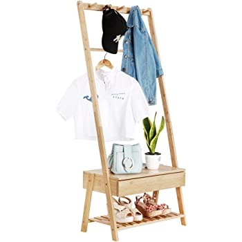 LANGRIA Stand Appendiabiti da Terra in Bambù con 5 Ganci e 1 Scatola di Immagazzinaggio per Giacca Lunga Borsa con Manto dell'Ombrello Uso nell'Ingresso Salone Spogliatoio, Colore Bambù Naturale