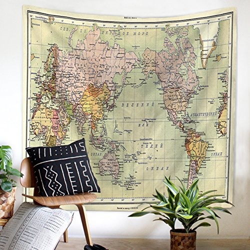 Map Table Mat World (Kybbe World Map Tapestry Abstract Painting Wall Hanging Home Decor for Living Room Bedroom Dorm Room)