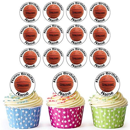Basketball 24 Personalisierte Essbare Cupcake Aufleger / Geburtstagskuchen Dekorationen – Einfache Vorgeschnittene Kreise Basketball-schokolade