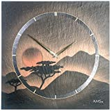 AMS 9515 Designer Wand Uhr Wohnzimmer, Airbrush Design Terracotta Gold - Motiv Sonnenuntergang, Kunstuhr Unikat Kunstobjekt Schiefer-Optik Natur