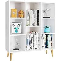 Homfa Meubles de Rangement Blanc Meubles Scandinave en Bois Bibliotheque Etagere Rangement avec 8 Casiers Armoire…