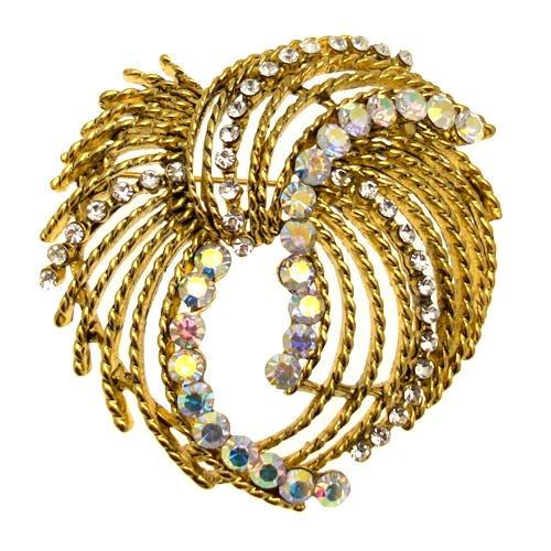 Acosta Jewellery–Antik Gold & ab Kristall, Vintage Corsage Kostüm Schmuck (Schmuck Antike Kostüm Broschen)