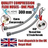 Xcel Hometm 2x 300mm 1/5,1cm BSP x 15mm compressione connettori monoblocco per lavandino cucina bacino Flexi tubi