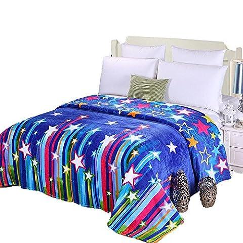 shinemoon couleur: bleu étoiles en flanelle thermique en polaire léger bébé garçon filles Couvre-lit Swaddle Couvertures et