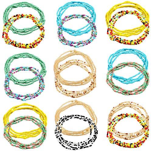 VAMEI 18 Stück Schmuck Taille Perle Bauchkette Körperkette Afrikanische Taille Perlen Bauchkette Bikini Schmuck für Damen Mädchen - Taille Perlen