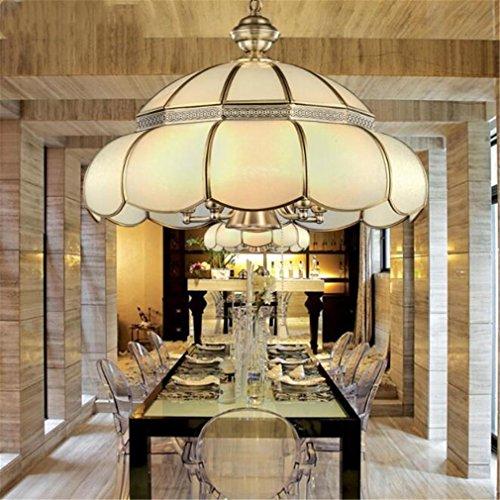 FFJTS Lustre en cuivre - Lampe de plafond de salon Villa européenne