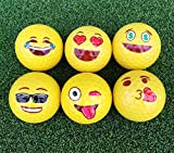 Novelty Smiley Face Golf Balls 2 Ply Professional Practice Golf Balls, 6 Balls