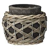 Lene Bjerre Übertopf Rina Blumenkübel Keramik Bambus Grau Ø 11 cm