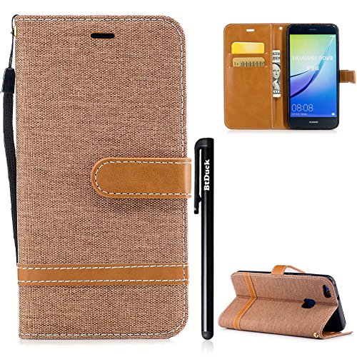 BtDuck Huawei P10 Lite Hülle, Denim Leder Tasche Dünn Stand Flip Brieftasche Damen Weich Silikon...