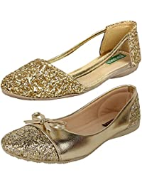 AUTHENTIC VOGUE Women's Combo Pack of 2 Golden Colour Partywear Classy Bellerinas (Combo Pack of 2)