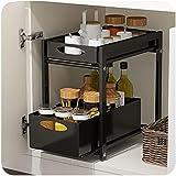 Sous-meuble de lavabo empilable,organiseur avec panier tiroir coulissant,pour cuisine et salle de bains,Noir,blanc,38.3*24.8*
