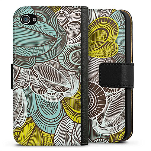 Apple iPhone X Silikon Hülle Case Schutzhülle Muster Blätter Bunt Sideflip Tasche schwarz