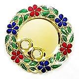 Satyam Kraft Diwali Collection Flower Pooja Thali Traditional Metallic Finished Pooja Thali Rakhi Platter   Engagement Ring Platter   Tilak Thali- 15 CM Diameter