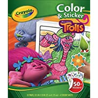 TROLLS - Colour and Sticker, Libro de Colorear (Crayola 04-6921)