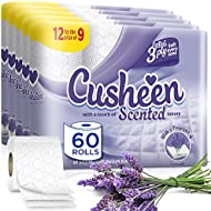 60 Cusheen Quilted Luxury Lavender 3 Ply Toilet Tissue Paper Rolls