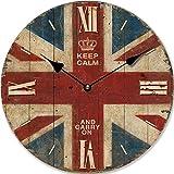 Tinas Collection - Reloj de pared de cuarzo (30 cm), diseño de bandera británica Union Jack