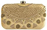 Tooba Women's Box with Sequence Clutch (gold sequence necklace 6x4, Gold)